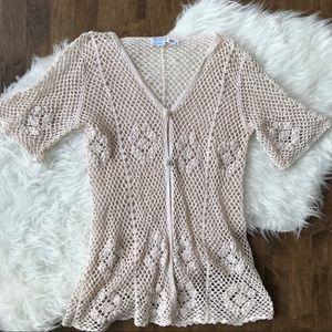 Vintage swim cover crochet cotton cream knit lace
